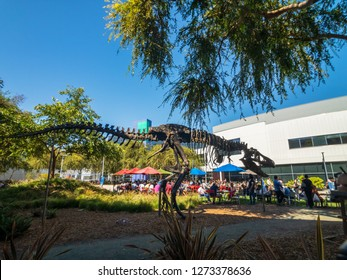 Mountain View, USA - September 25, 2018: Employees working outdoors at Googleplex headquarters main office