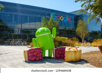 Mountain View, USA - September 25, 2018: Android statue in Googleplex headquarters main office