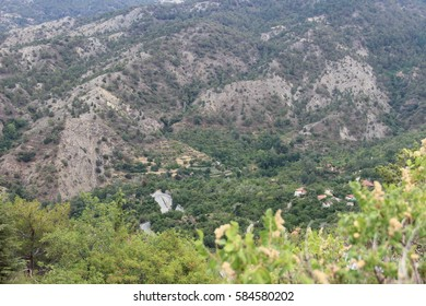 Mountain view with village in the valley. Cyprus.