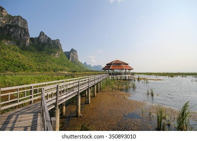 Mountain view from Wooden Bridge at Khao sam roi yod national park, Prachuap Khiri Khan, Thailand