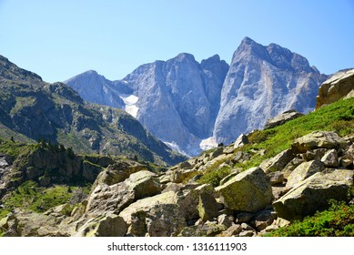 Mountain Vignemale in the national park    Pyrenees . Occitanie in south of France.