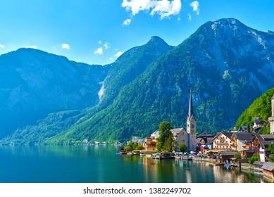 Mountain village in the Austrian Alps. Beautiful light in summer, Salzkammergut region, Hallstatt, Austria.