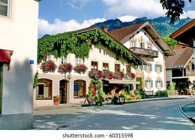 Mountain village in Bavaria of summer