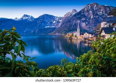 The mountain village Hallstatt in Austria at dawn in spring