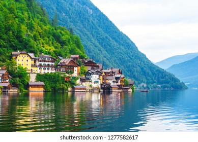 Mountain village Hallstatt in Upper Austria at summer morning. Famous place among travellers