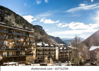 Mountain village landscape.