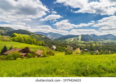 Mountain village as marvelous landscape with Lysa hora summit - Moravian-Silesian Beskydy - Shutterstock ID 1979424653