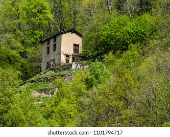 Mountain village Noceno in Lombardy in Italian Alps