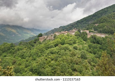 The mountain village of Sablieres in the Ardeche district, France