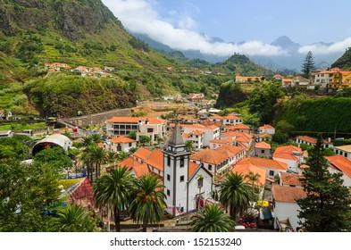 Mountain village Sao Vicente during flower festival, Madeira island, Portugal