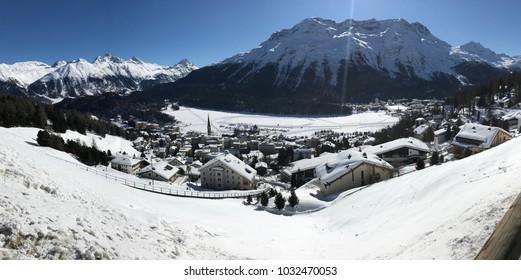 Mountain village St. Moritz (Switzerland) in the Swiss Alps, panorama