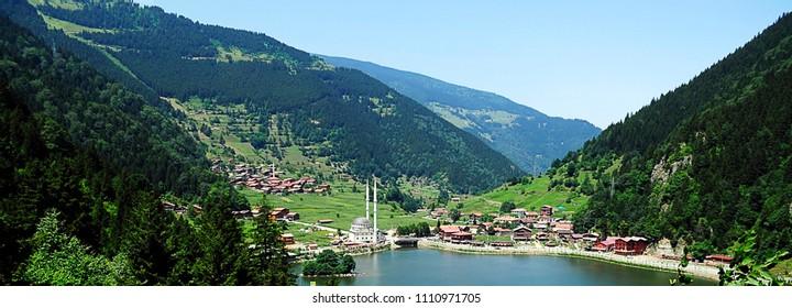 Mountain village of Uzungol in Trabzon, Turkey. (Long Lake)