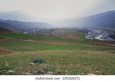 Mountain village in the mountain valley