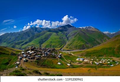 Mountain village Xinaliq (Khinalug) in the Caucasus mountains. Guba region, Azerbaijan