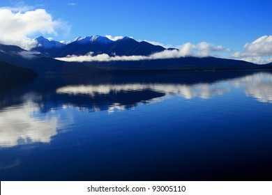 Mountain vista across Lake Manapouri, Fiordland National Park, New Zealand