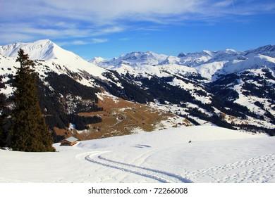 Mountain vista in the Swiss Alps near Gstaad,Switzerland