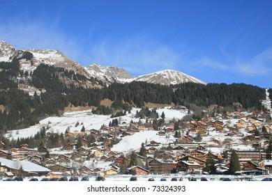 Mountain vista in the Swiss Alps near Les Diablerets, Switzerland