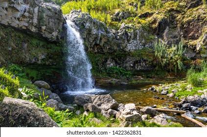 Mountain waterfall pool scene view. Waterfall mountain scene. Mountain waterfall poll. Mountain waterfalls