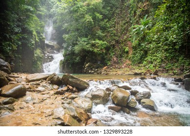 Mountain waterfall in Sunny day, Thailand