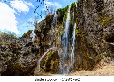 Mountain waterfalls in early spring.