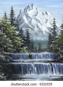 Mountain Waterfalls Painting