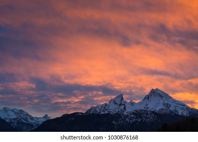 Mountain Watzmann in the Alps of Bavaria at sunset
