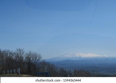 The mountain where spring snow remains in Hokkaido, Japan
