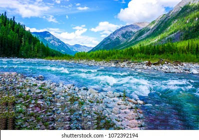 Mountain wild river landscape. River valley in mountains. Wild mountain river panorama