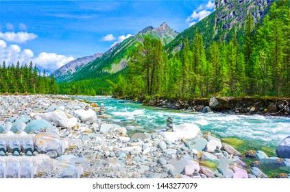 Mountain wild river water flowing view. Mountain river landscape. Mountain valley river water view. Mountain wild river landscape