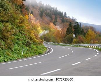 Mountain winding road (Hachimantai Aspite Line), Japan