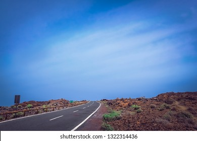 Mountain winding road through the volcanic landscape of Tenerife, Canary Islands, Spain