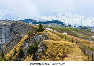 Mountain in Winter with bad weather on cloudy day