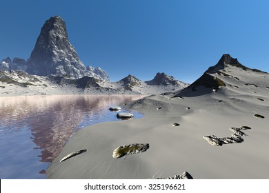 Mountain, a winter landscape, a lake with reflections for rocks and snows.