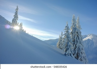 mountain, winter, sun, blue sky