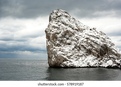 Mountain at wintertime in the sea.