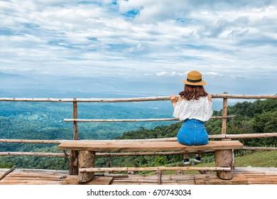 Mountain women and beautiful sky in Chiang Mai, Thailand