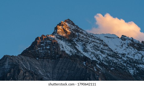 Mountain in Yading during sunset