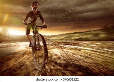 Mountainbiker goes offroad