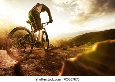 Mountainbiker at sunset
