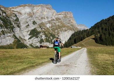 Mountainbiking in the Swiss Alps near Flims Laax, Switzerland, Europe