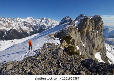 mountaineer  against Foratata peak in Tena Valley, Huesca, Pyrenees, Aragon, Spain