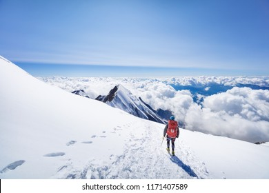 mountaineer enjoing view from Mont Blanc