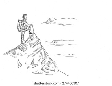 Mountaineer line art sketch illustration