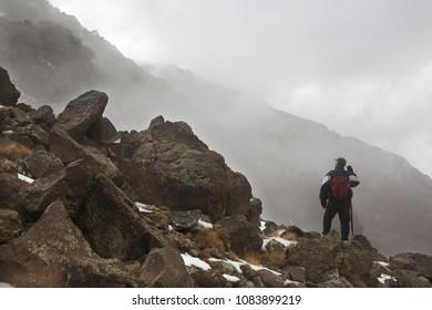 Mountaineer at Mount Savalan (Sabalan) in Iran. Savalan is the third highest mountain in Iran.