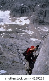 mountaineer on Dachstein Mountains, Alps, Austria