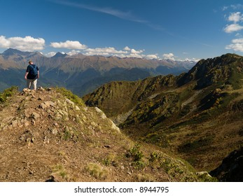 mountaineer on the top of mountain