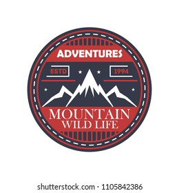 Mountaineering adventures vintage isolated badge. Outdoor explorer sign, touristic camping label, nature expedition illustration