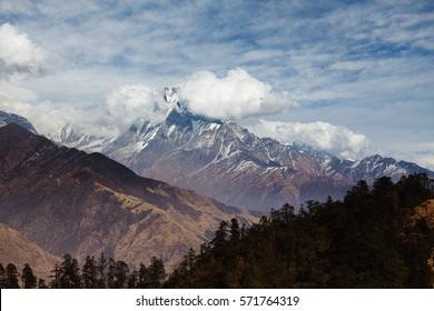 Mountaineering, hiking, climbing, trekking and travel concept. Spectacular view of ancient mountain with peak hiding in white clouds. Cloudy day in high mountains. Green pine trees in foreground
