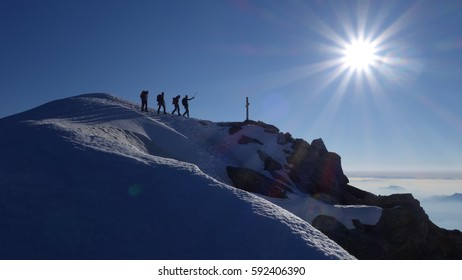 Mountaineering Rope Team close to the summit