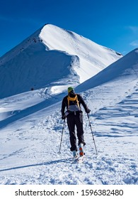 Mountaineering scene in the alps during winter